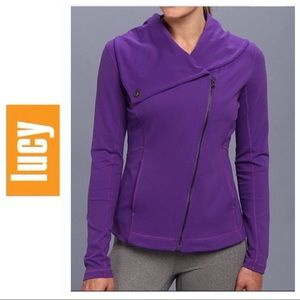 LUCY HATHA YOGA ASYMETRICAL PURPLE JACKET LARGE